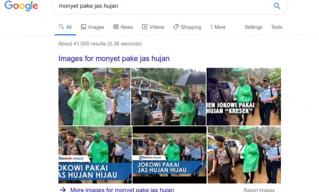 Hasil pencarian monyet pake jas hujan pada halaman Google